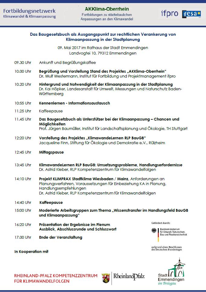Programm zum 5. Seminar AKKlima-Oberrhein in Emmendingen zum Thema: Das Baugesetzbuch als Ausgangspunkt zur rechtlichen Verankerung von Klimaanpassung in der Stadtplanung